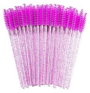 Escovinha para Cílios Descartável Glitter Lilás 50 unid.