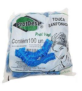 Touca Descartável TNT Azul Protdesc c/100 unid.