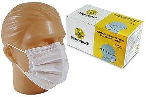 Máscara Dupla com Elástico Branca Descartável Descarpack c/100 unid.