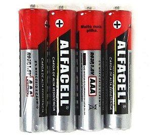 Pilha AAA 1,5v Alfacell com 4 unidades