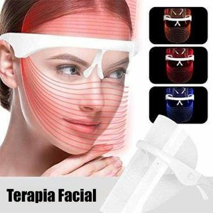 Máscara Led 3 Cores Estética Terapia Facial