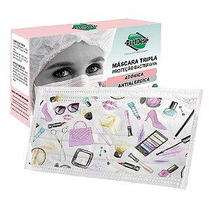 Máscara Descartável Tripla c/ Elástico Fashion Protdesc c/20 unidades