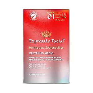 Kit Henna de Sobrancelha Expressão Facial Castanho Medio 2,5g + Fixador 10ml
