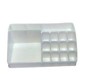 Organizador de Cosméticos Plástico Branco 22x7,5x12,5cm