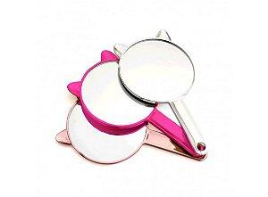 Espelho de Mão Orelha Gato Pink