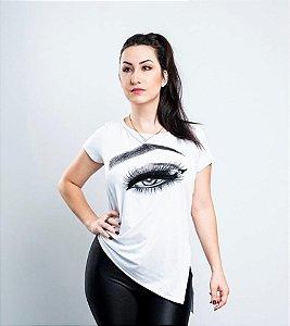 Camiseta T-Shirts Sobrancelha Olho Paetê Branca