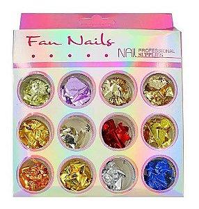 Folhas de Ouro Decoração de Unhas 12 Cores Fan Nails