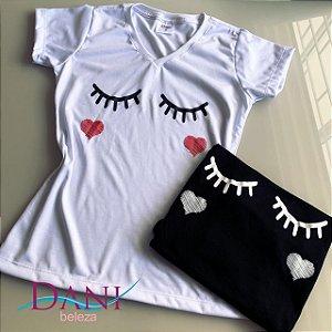 Camiseta Baby Look Cílios 100% Poli Viscose