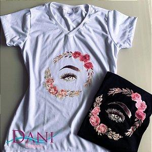 Camiseta Baby Look Rosa Sobrancelha 100% Poli Viscose