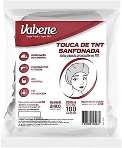 Touca Descartável Branca TNT Sanfonada Vabene c/100 unid.