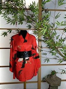 Kimono Curto Tsuru Vermelho
