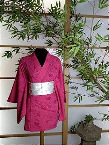 Kimono Curto Algodão Rosa