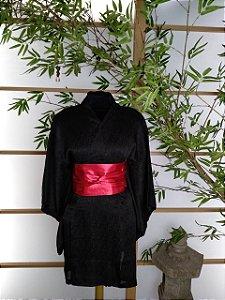 Kimono Curto Textura Preto