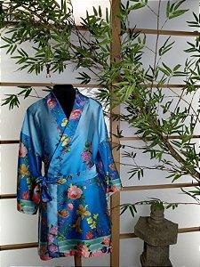 Kimono Robe Coleção Romântica Azul