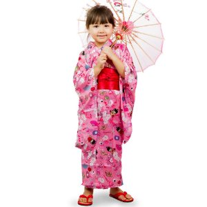 Kimono Infantil Kokeshi Rosa