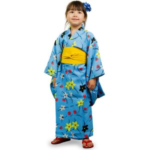 Kimono Infantil Azul Flores