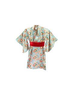 Kimono Azul Flores Cetim