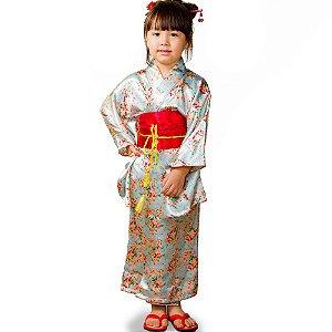Kimono Infantil Azul Flores Cetim