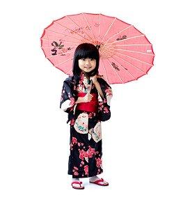Kimono Infantil Preto Hello Kitty '18
