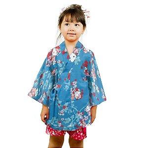 Kimono Infantil Azul Hello Kitty '19