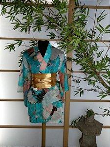 Kimono Curto Tsuru Azul