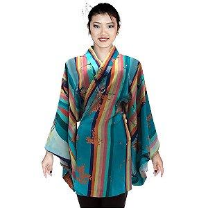 Kimono Curto Azul - Listras Tsuru