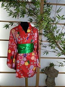Kimono Curto Florido Vermelho