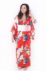Kimono Longo Tsuru Vermelho-alaranjado