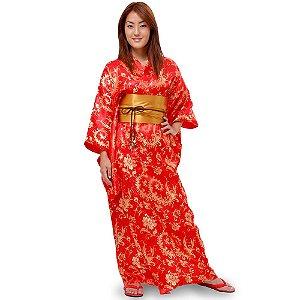 Kimono Longo Brocado Vermelho