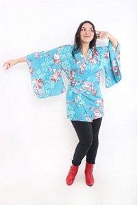 Kimono Curto Hello Kitty Azul