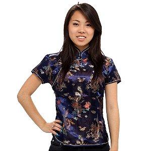Blusinha Chinesa Azul com Estampa de Dragão e Fênix