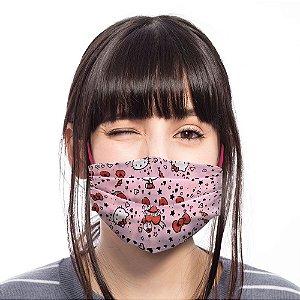 Máscara hello Kitty Rosa Coração