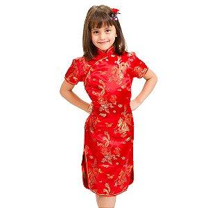 Vestido Qipao Vermelho Dragão e Fênix