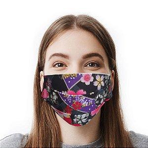 Máscara Floral Preta Tecido Importado