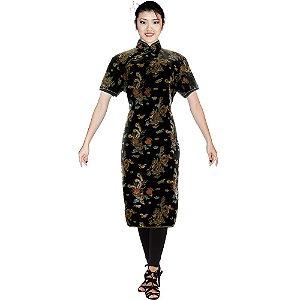 Vestido Qipao Curto Brocado Preto