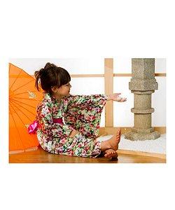 Kimono Infantil Rosas Cetim