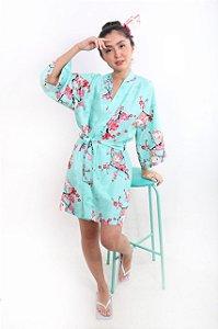 Kimono Robe Verde-Água Hello Kitty '20