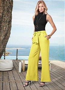 Calça Pantalona Amarelo Limão