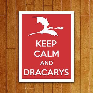 Placa Decorativa Keep Calm Dracarys