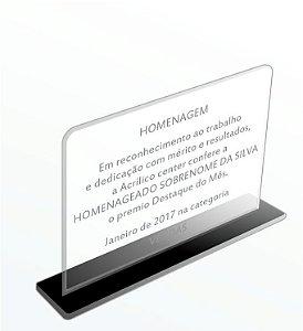 Placa de homenagem com base - Modelo básico