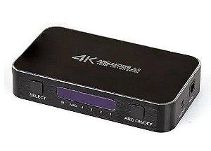 Switch Hdmi 2.0, 4k, 4 Portas Com Controle