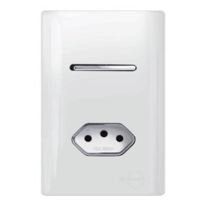 Interruptor Simples + 1 Tomada 10A - Dicompel Novara - 1200/19