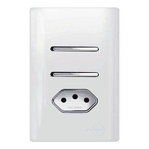 Interruptor Duplo 1 Simples + 1 Paralelo + 1 Tomada 10A - Dicompel Novara - 1200/25