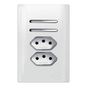 Interruptor 2 Simples + 2 Tomadas 20A - Dicompel Novara - 1200/180