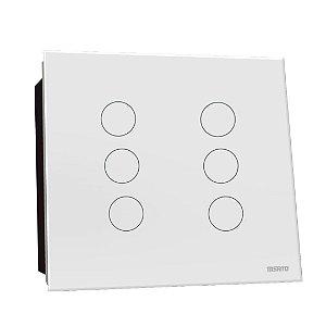 Interruptor Touch Rele 6 Pads - Branco Redondo 4x4