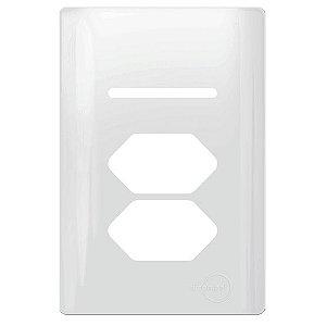 Tampa p/ 2 Interruptores + 1 Tomada 4X2 - Dicompel Novara - 1100/79