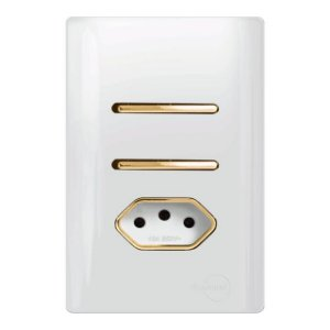 Interruptor duplo Paralelos + 1 Tomada 10A - Dicompel Novara - 1200/24-Gold