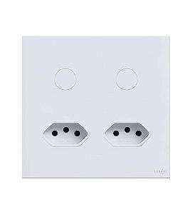 Interruptor Touch 2 Teclas c\ 2 Tomadas de 10A  Branco Lumenx Linha Glass 4x4