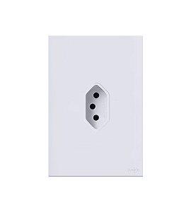 Tomada Simples Vertical 10A Branca Lumenx Linha Glass 4x2