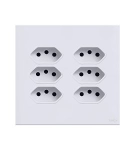 Tomada c\ 6 módulo 10A  Branca Lumenx Linha Glass 4x4